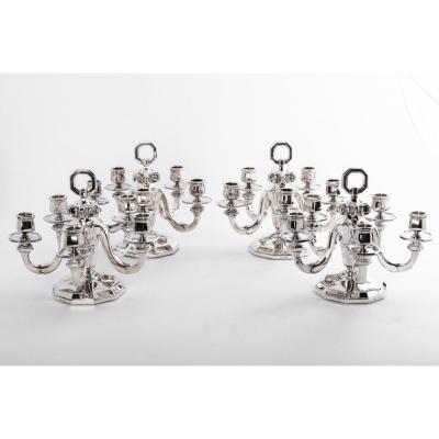 Orfèvre  Gustave Keller  - Suite De 4 Candélabres En Argent Massif Epoque Art Déco