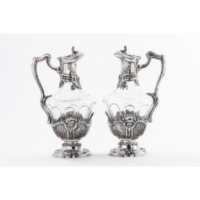 Goldsmith Debain - Pair Of Ewers In Crystal And Sterling Silver époque Art Nouveau