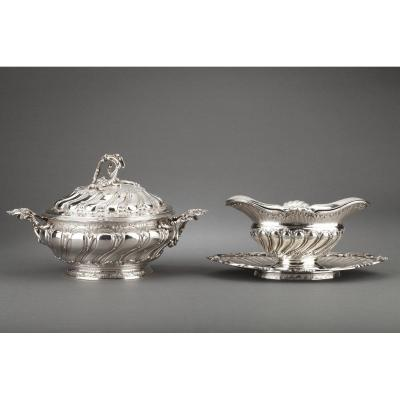 Goldsmith Merite - Vegetable Dish And Its Sauceboat In Sterling Silver XIXth Century