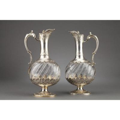 Goldsmith Odiot - Pair Of Oblong Crystal And Vermeil Ewers XIXth Century