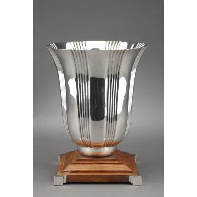 Goldsmith Lapparra - Vase In Sterling Silver Art Deco Period