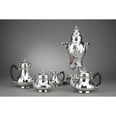 Orfèvre Boin Taburet - Tea / Coffee  4 Pieces In Sterling Silver Plus Samovar In Silver Metal