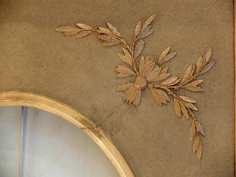 Grand cadre ovale en bois et stuc doré-photo-1