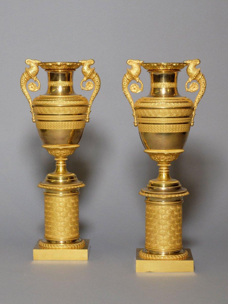 Paire de vases empire en bronze doré