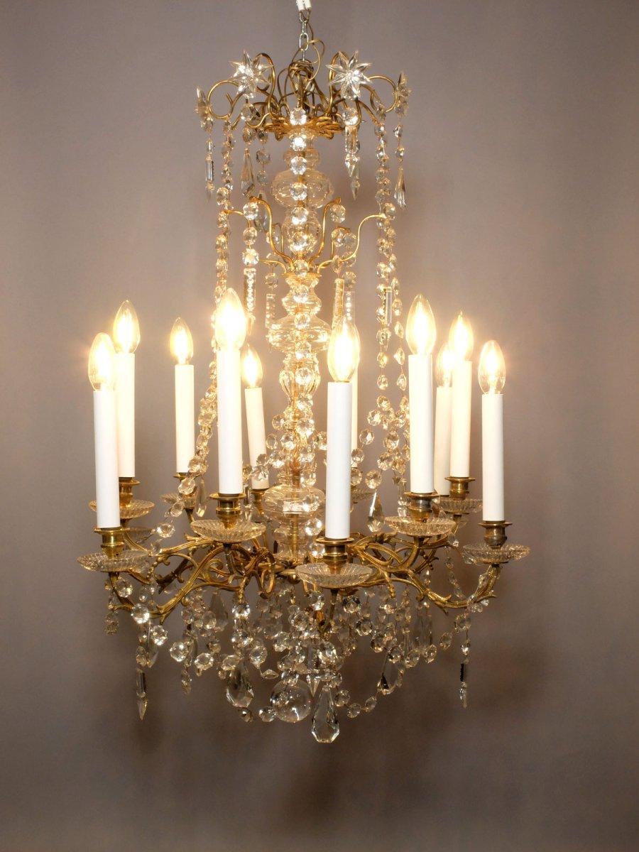 Lustre en bronze doré et cristal à 12 feux