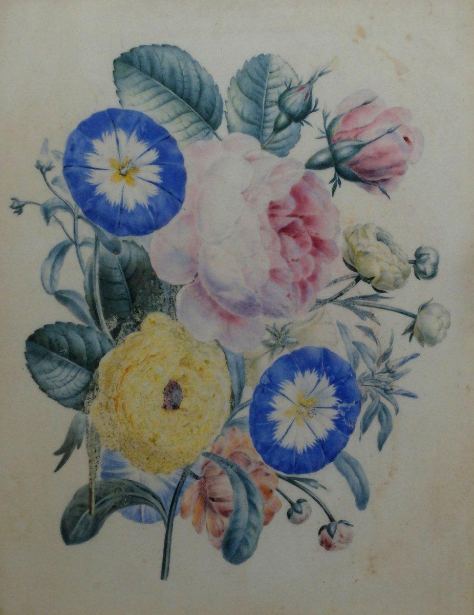 Bouquet de fleurs - Gouache XIXème