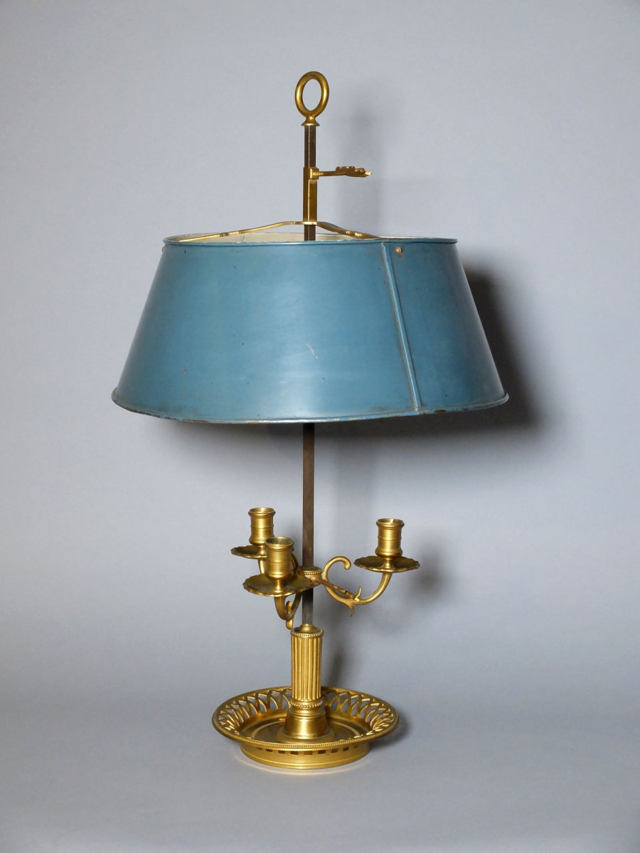 """bouillotte"" Lamp In Gilded Bronze And Lacquered Sheet Metal"