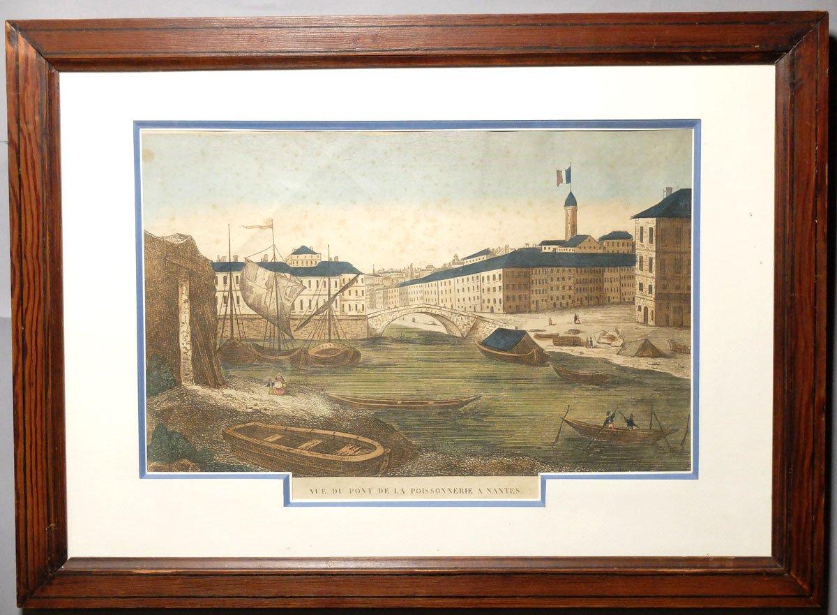The Poissonnerie's Bridge In Nantes - 18th Century Engraving-photo-2