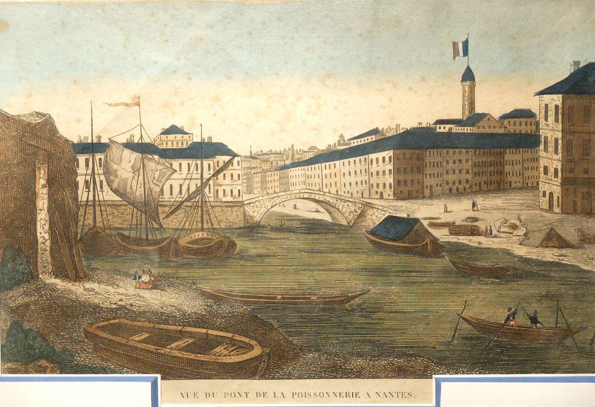 The Poissonnerie's Bridge In Nantes - 18th Century Engraving