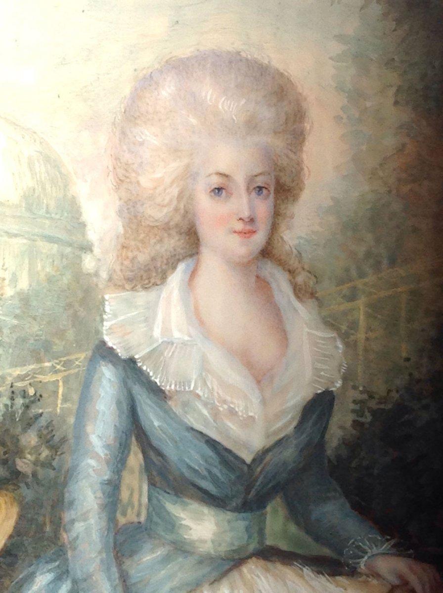 AUGUSTIN DUBOURG, portrait de Marie-Antoinette d'après Gautier d'AGOTY, miniature datée 1780-photo-2