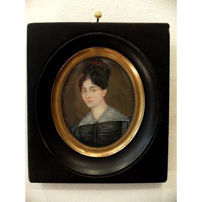 Portrait De Femme - Miniature Sur Ivoire XIXème