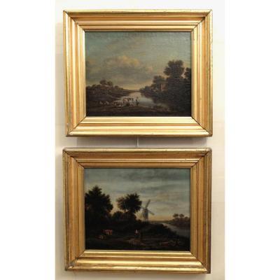 Paire de tableaux - Ecole hollandaise XIXème