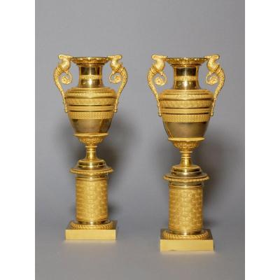 Pair Of Empire Vases In Gilded Bronze