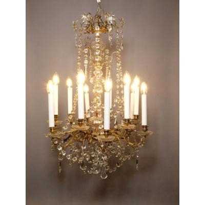 Chandelier In Gilt Bronze And Crystal 12 Lights