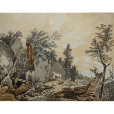 Dessin XVIIIème - Scène Pastorale