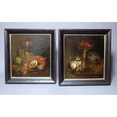 Pair Of Still Lifes - Oils On Copper XIXth Century