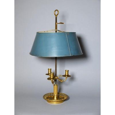 Lampe bouillotte en bronze doré et tôle laquée
