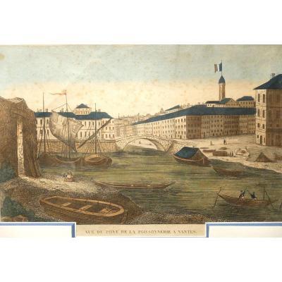 Le pont de la Poissonnerie à Nantes - Gravure XVIIIème