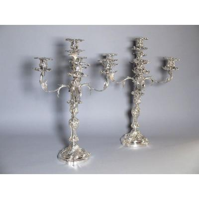 Pair Of Large Rocaille Candelabra In Silver Metal