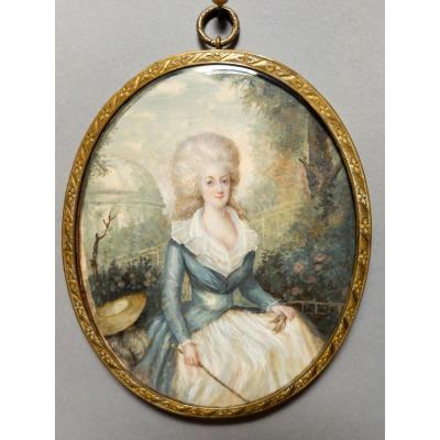 AUGUSTIN DUBOURG, portrait de Marie-Antoinette d'après Gautier d'AGOTY, miniature datée 1780