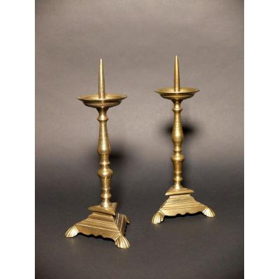 Pair Of Tripod Candles With Balusters