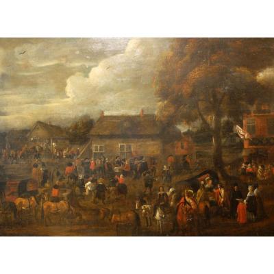 """Important tableau du XVIIème siècle """"Kermesse flamande"""""""