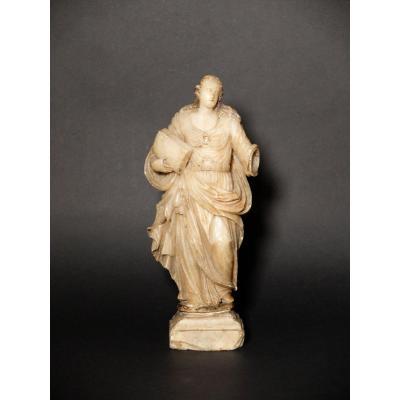 Sainte au livre - Albâtre de Trapani  - XVIIème siècle