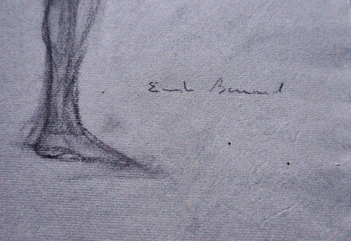 Émile Bernard (1868-1941) Dessin Au Crayon Gras-photo-3