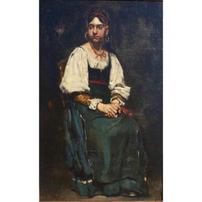 Huile sur toile XIXe   Portrait d'une jeune Espagnole A de la Gandara