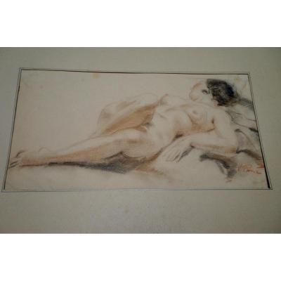 VLADIMIR ROZMAINSKY (1885-1943) femme nue allongée