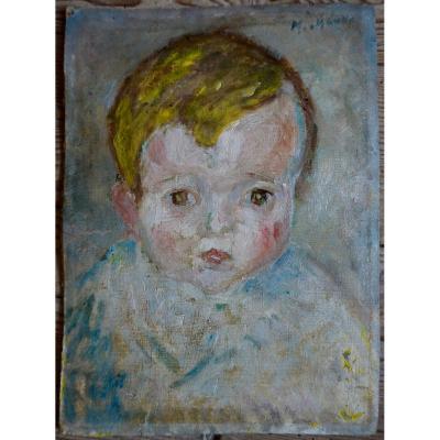 Mania Mavro (odessa 1889-1969) Paris School Crozant Portrait Child Impressionist