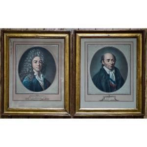 Paire De Gravures XIXe Roland De La Platière Et Jean De La Bruyère