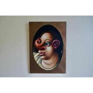 Christophe Mendes Bordelaise School Surrealist Portrait Around 1990