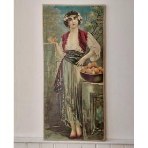 1) Giovanni Guerzoni (1876-1948) d'Après Estampe Sur Toile Art Nouveau Vers 1900 Dlg Mucha