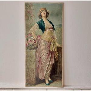 2)  Giovanni Guerzoni (1876-1948) d'Après Estampe Sur Toile Art Nouveau Vers 1900 Dlg Mucha