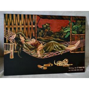 Panneau De Laque  Viêt Nam Ecole Des Beaux-arts De Gia Dinh Saïgon