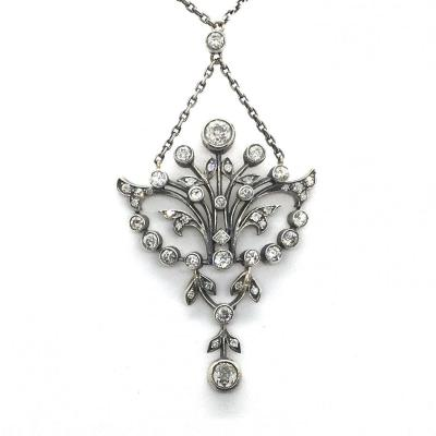 Sf8.  Collier Art Nouveau Avec Diamants Env. 3.70 Ct