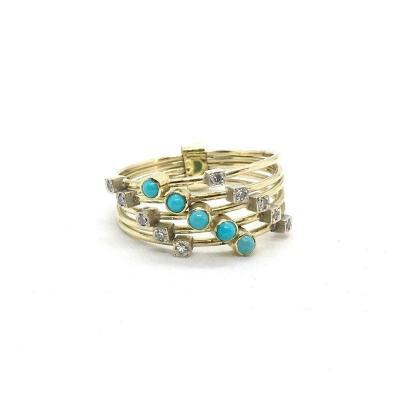 2727. Candy Ring With Turquoise And Diamonds