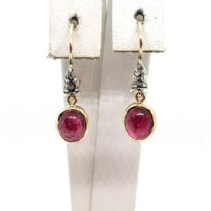 2977. Gold Earrings With Diamonds And Spinel