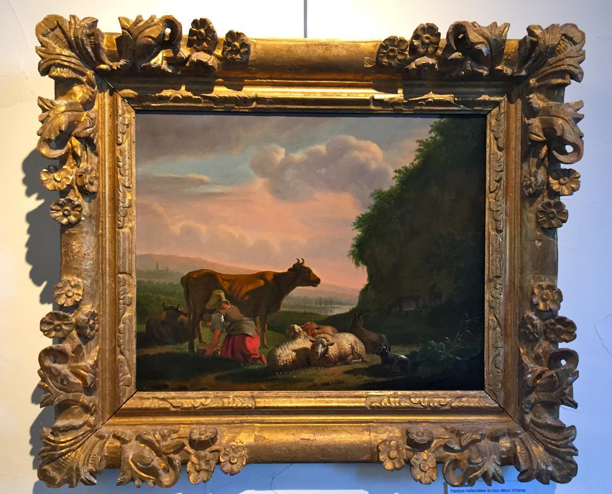 """""""La Traite"""", Peinture Hollandaise, XIXème - Tableaux paysages"""