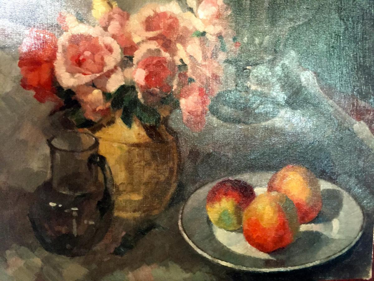 Nature Morte De Roses Et De Pêches, Frans Lejeune