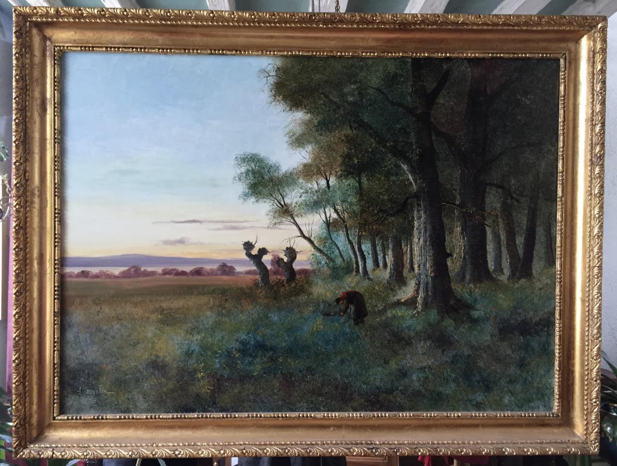 """""""La ramasseuse de fagots"""", par Gourdon, XIXème"""