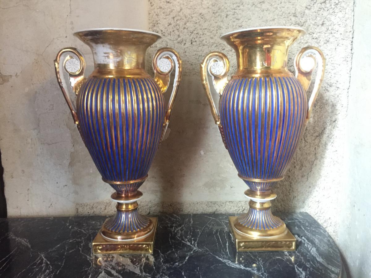 Paire De Vases , Porcelaine De Paris, époque Empire