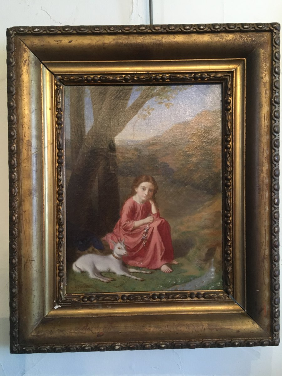 La fillette Et Sa Biquette Par Antoine Hénault 1810-1881