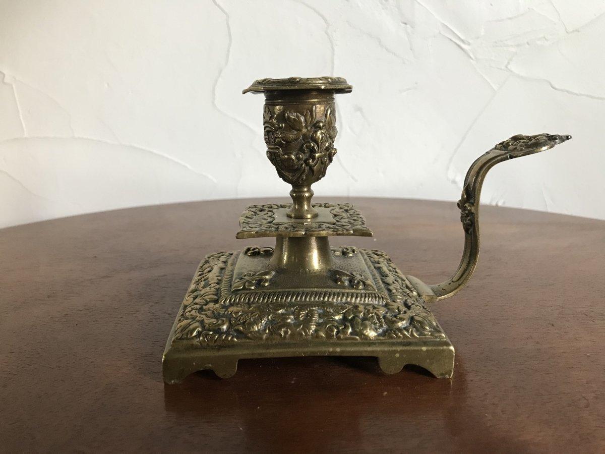 Hand Candlestick In Bronze, XIXth