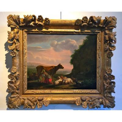 """""""La Traite"""", Peinture Hollandaise, XIXème"""
