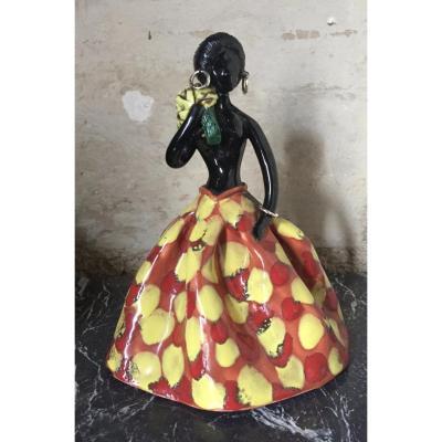 Femme Africaine En Céramique, Années 50-60