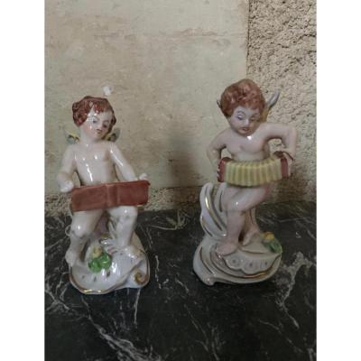 Paire d'Anges Musiciens, Capodimonté, XIXème