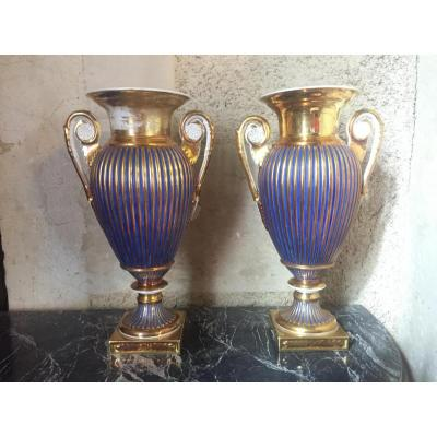 Pair Of Vases, Paris Porcelain, Empire Period