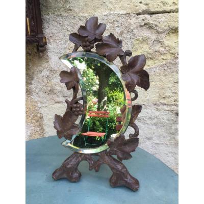 Miroir Croissant De Lune, Bois Sculpté, XIXème